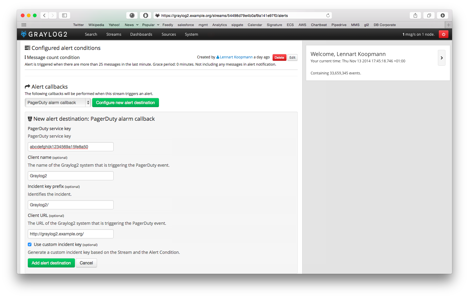 Screenshot: Configuring the PagerDuty alarm callback in Graylog