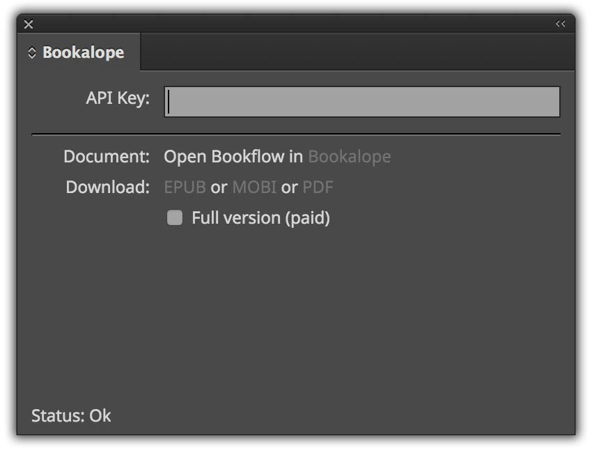 Bookalope InDesign: Update panel