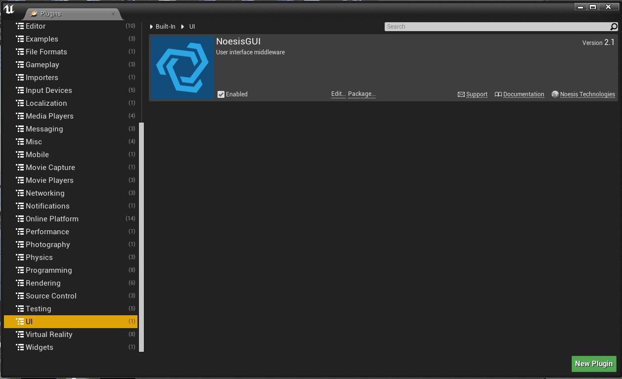 Ensuring the NoesisGUI plugin is enabled