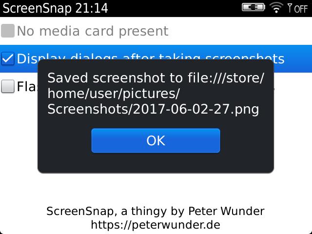 Screenshot of ScreenSnap's optional dialog