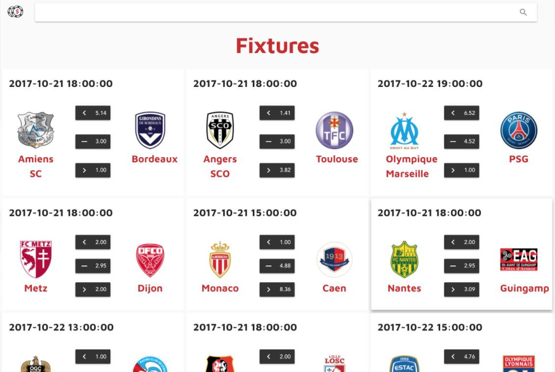 Screenshot of the UI: Fixtures