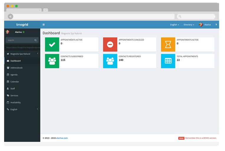 Timegrid Backoffice Dashboard Screenshot
