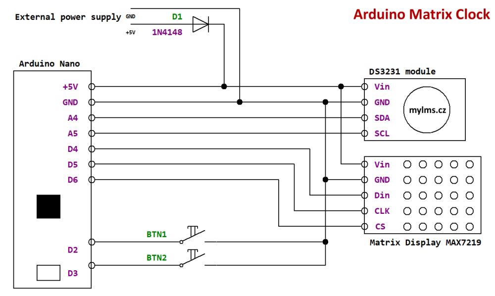 alt Arduino Matrix Clock - Schematics