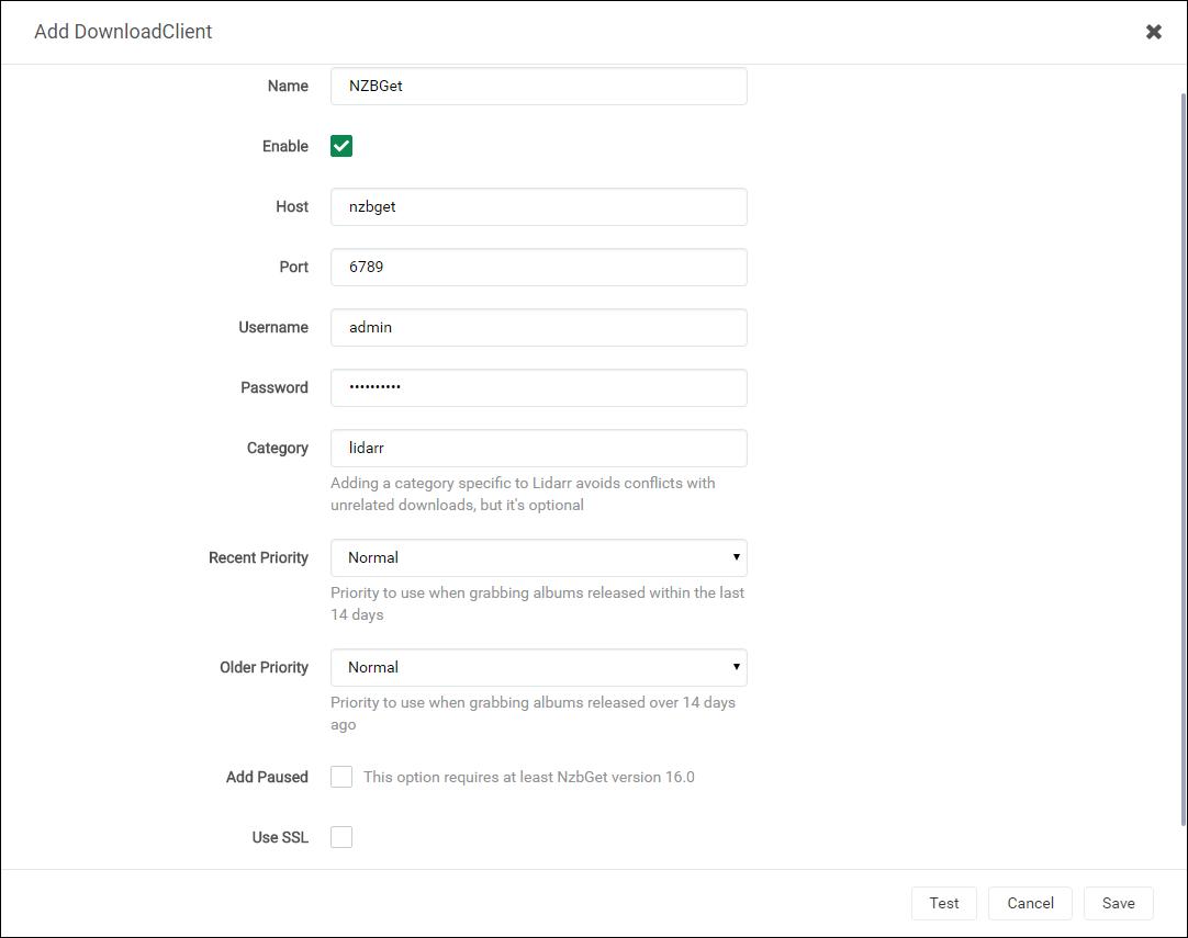 Lidarr NZBGet Downloader