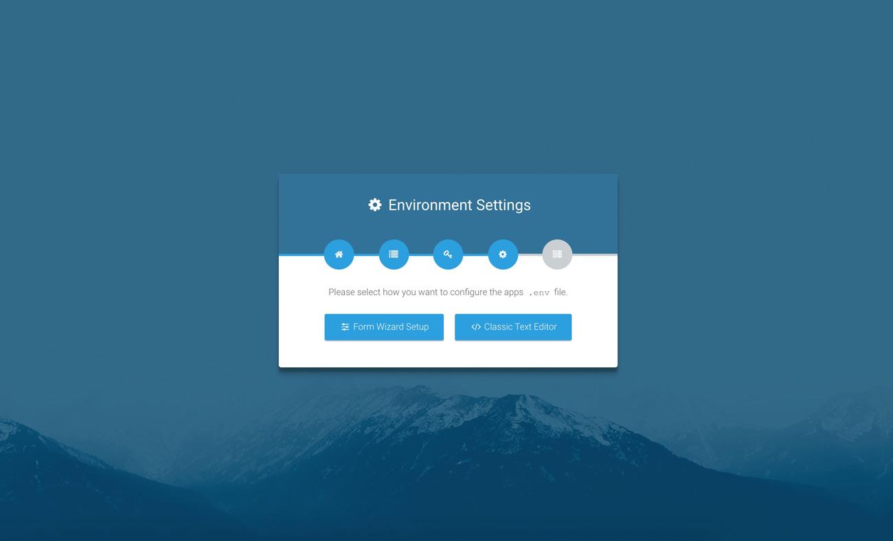 Laravel web installer | Step 4 Menu