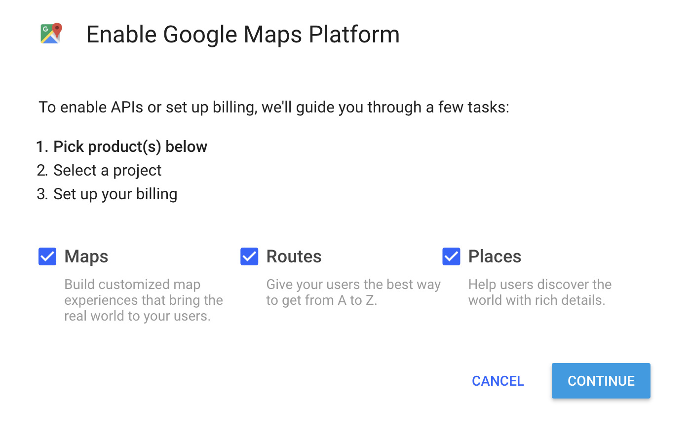 Enable Google Maps Platform dialog