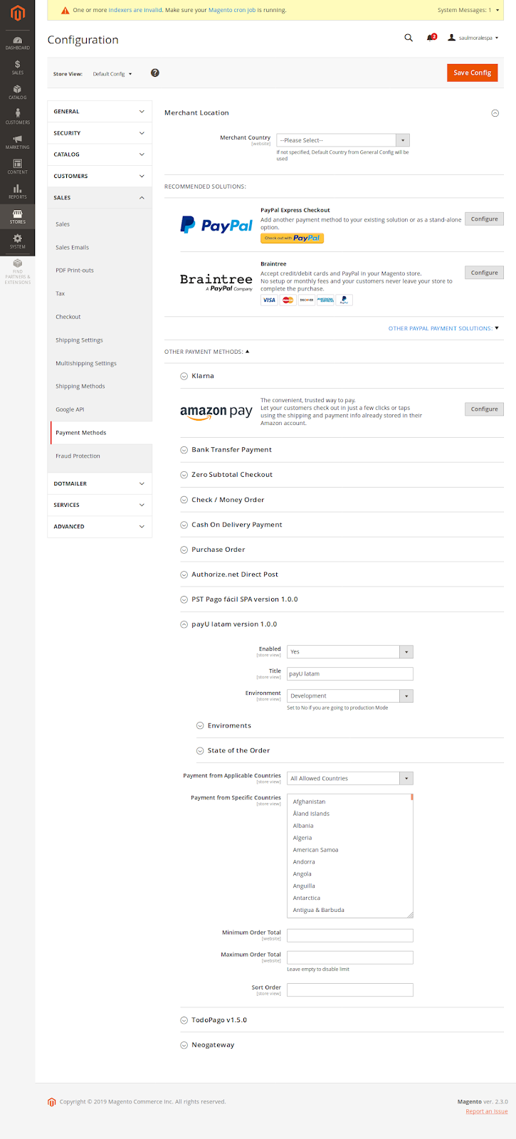 Enter the configuration menu of the payment method