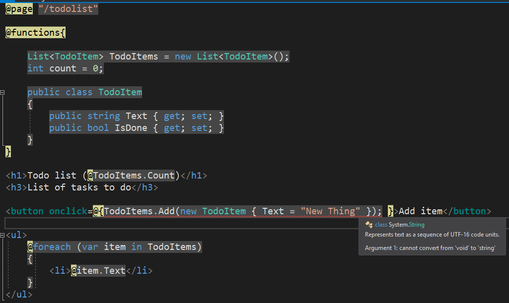 Error when using C# code in onclick handler of button