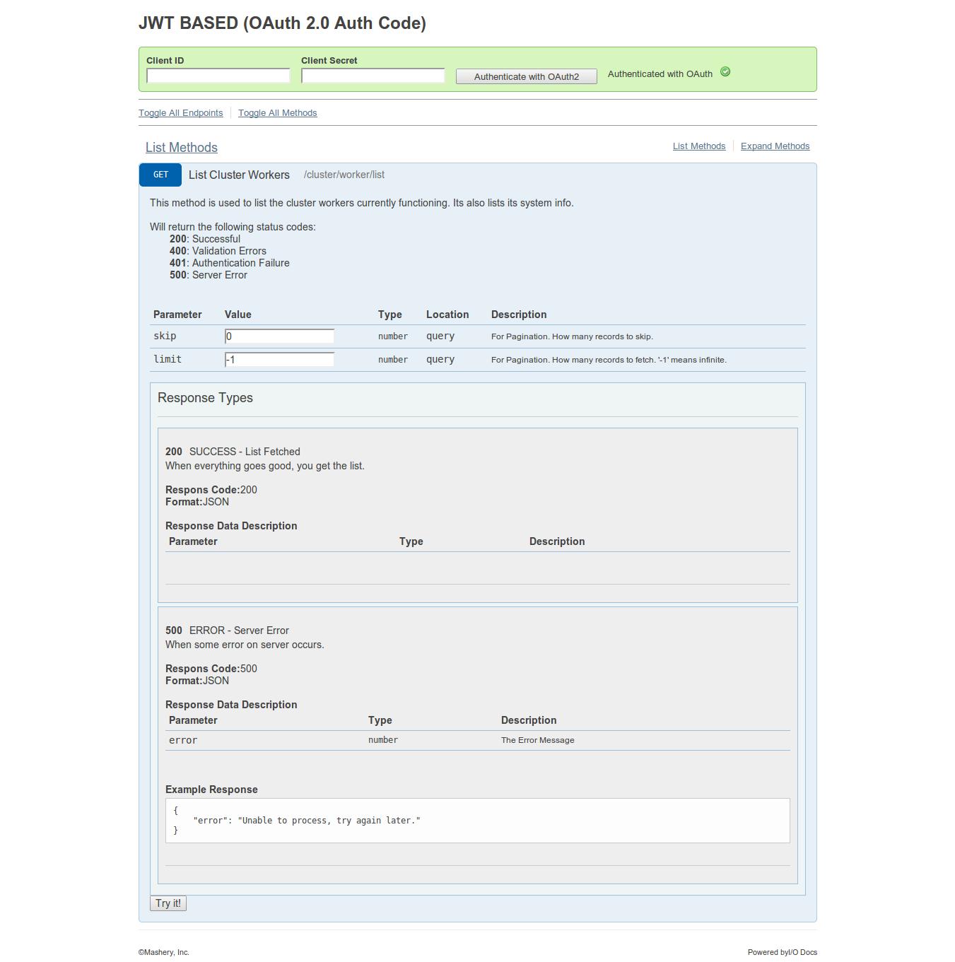 jwt based oauth 2 0 auth code api documentation