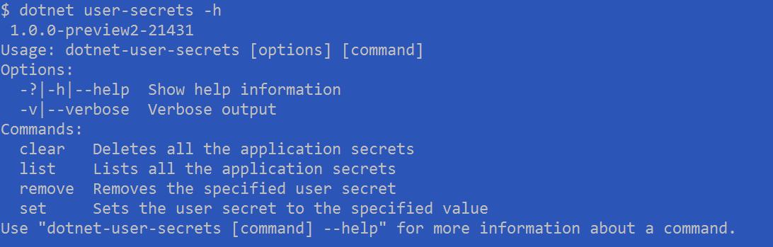 dotnet user-secrets help
