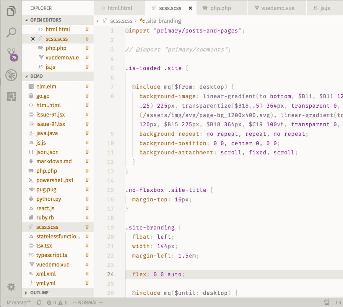 Screenshot of Base2Tone_HeathLight in VSCode