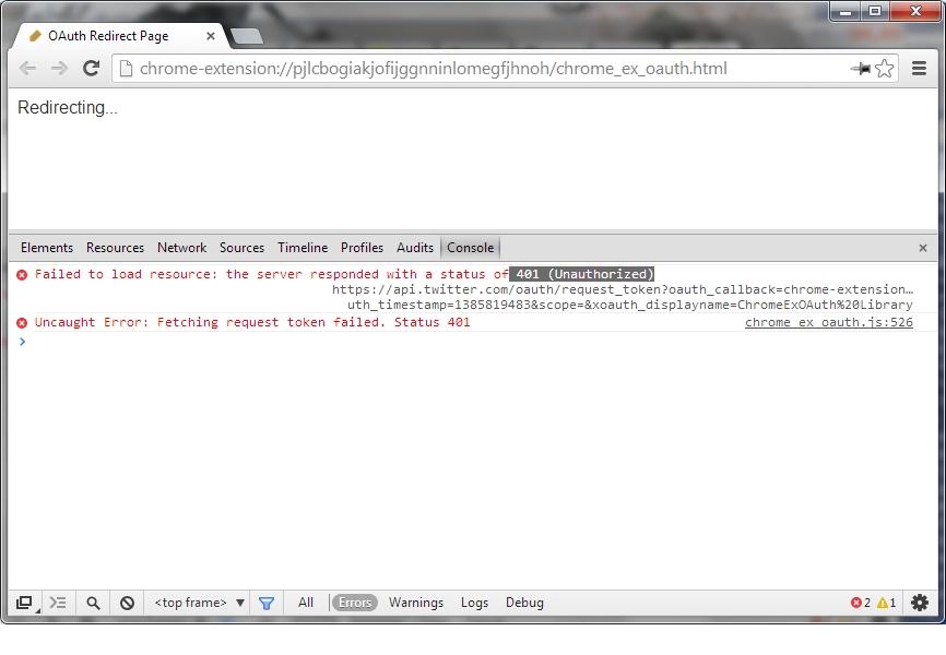 401 (Unauthorized) error in chrome_ex_oauth html · Issue #1 · hayajo