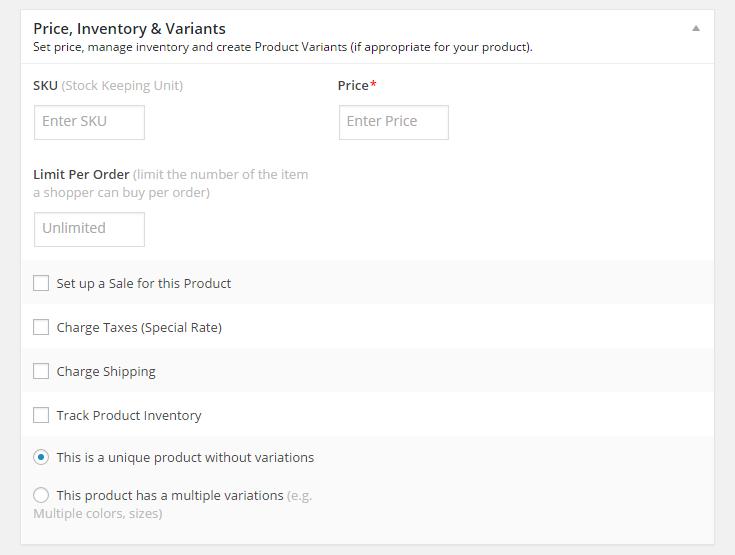 MarketPress - Prices, Inventory & Variants