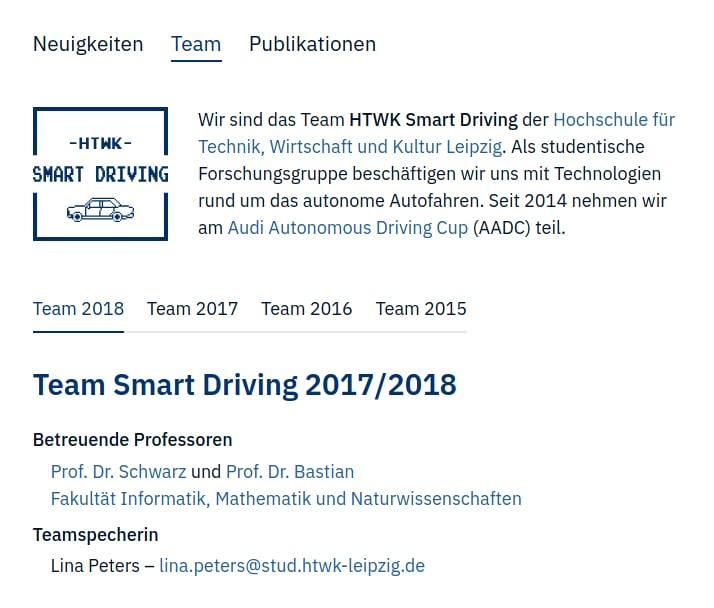 Screenshot http://smart-driving.htwk-leipzig.de