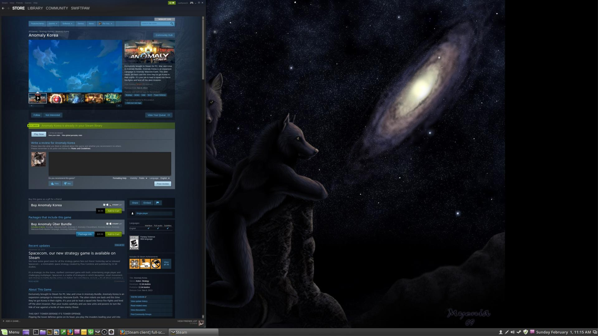Steam client] full-screen videos play in bottom left of