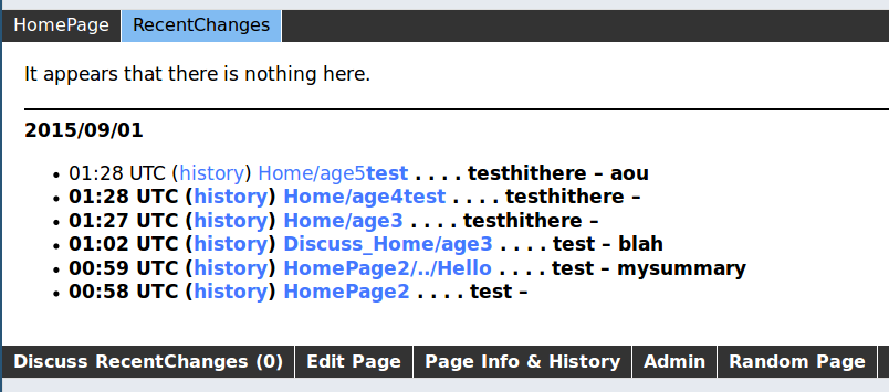 screenshot with <b> injected into page name
