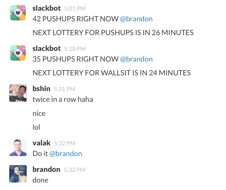 Slackbot-workout in action