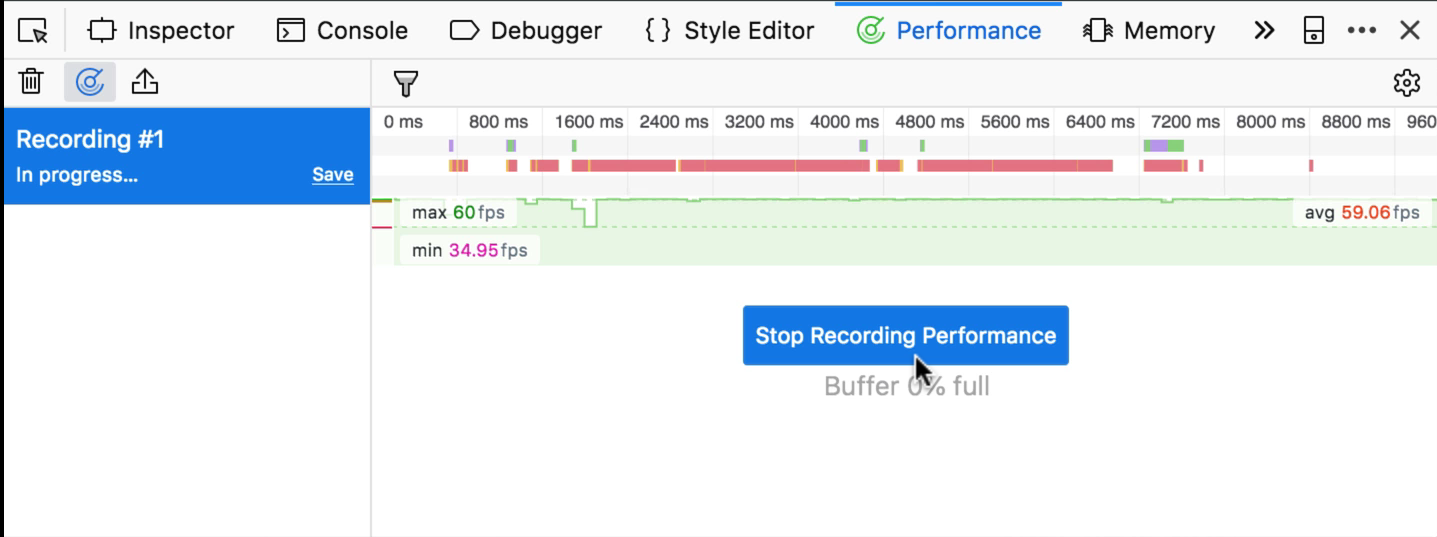 """Stop Recording Performance"" button in Firefox"