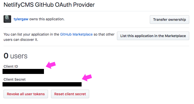 A screenshot of a GitHub OAuth Provider App client id and secret section with redacted values