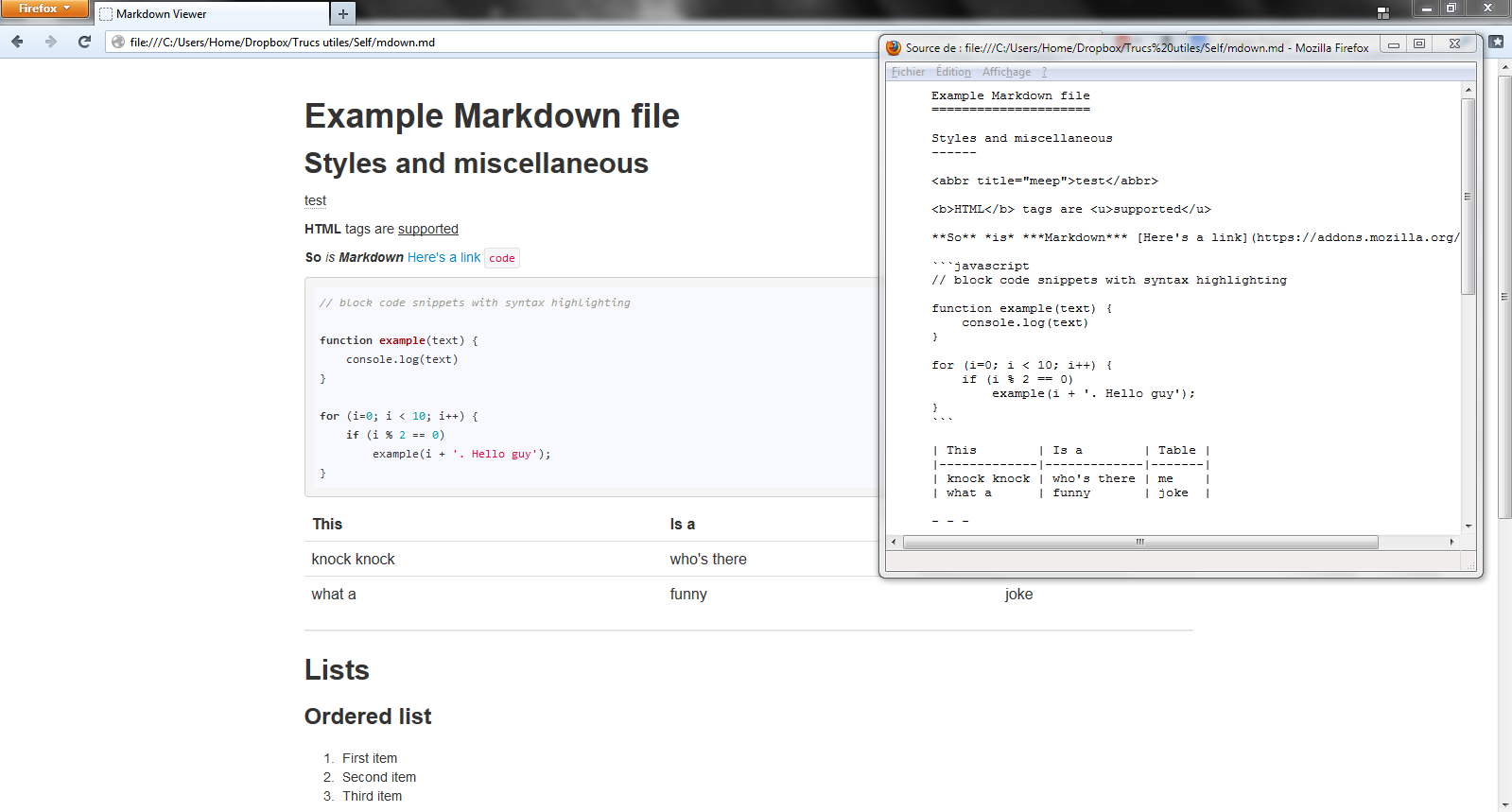 Markdown Viewer rendering with an example file