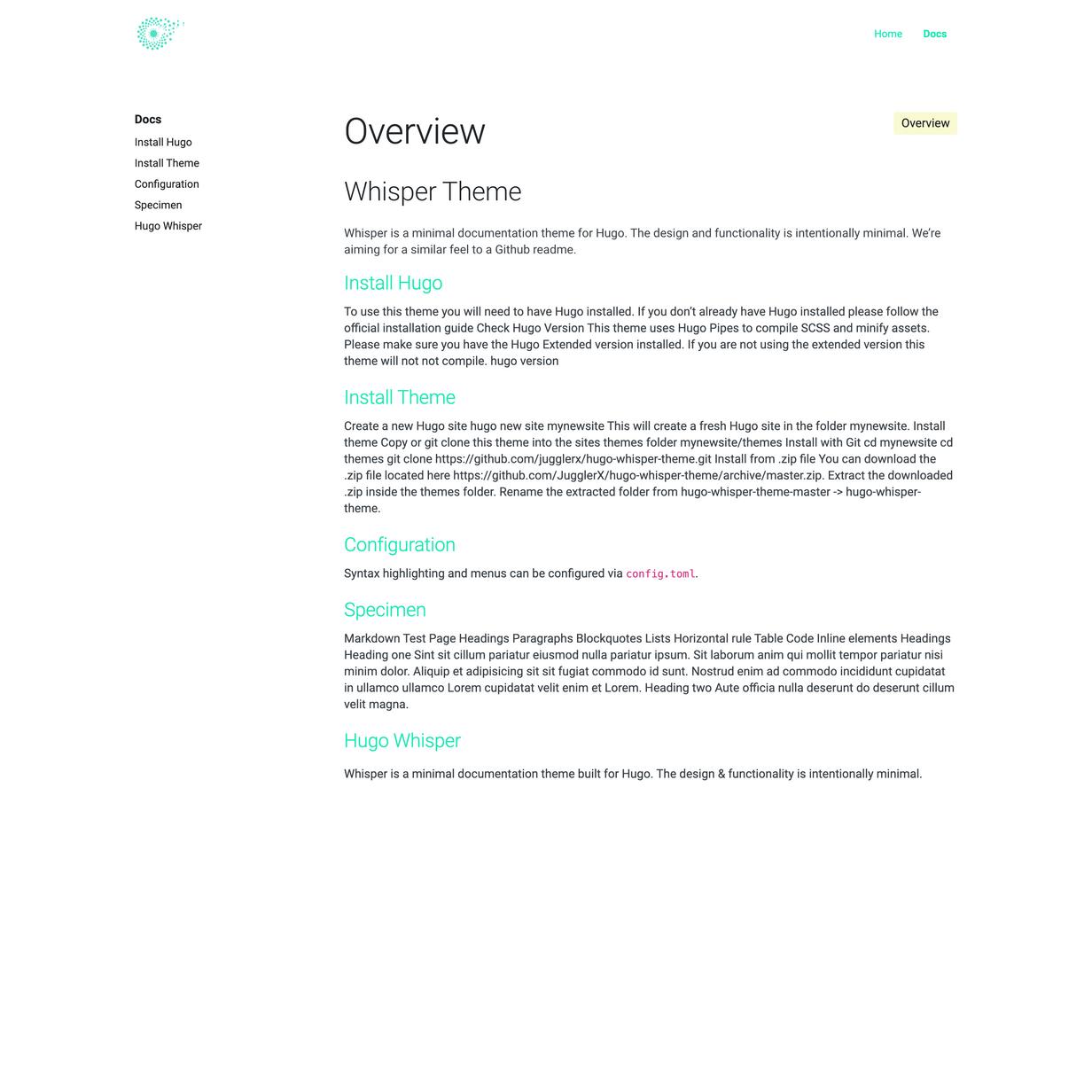 Hugo Whisper Theme screenshot