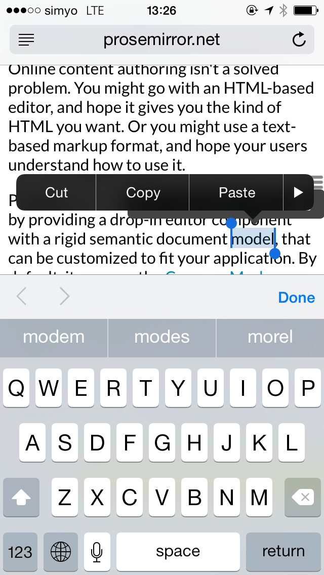 Tooltip inline menu fights with iOS selection menu · Issue