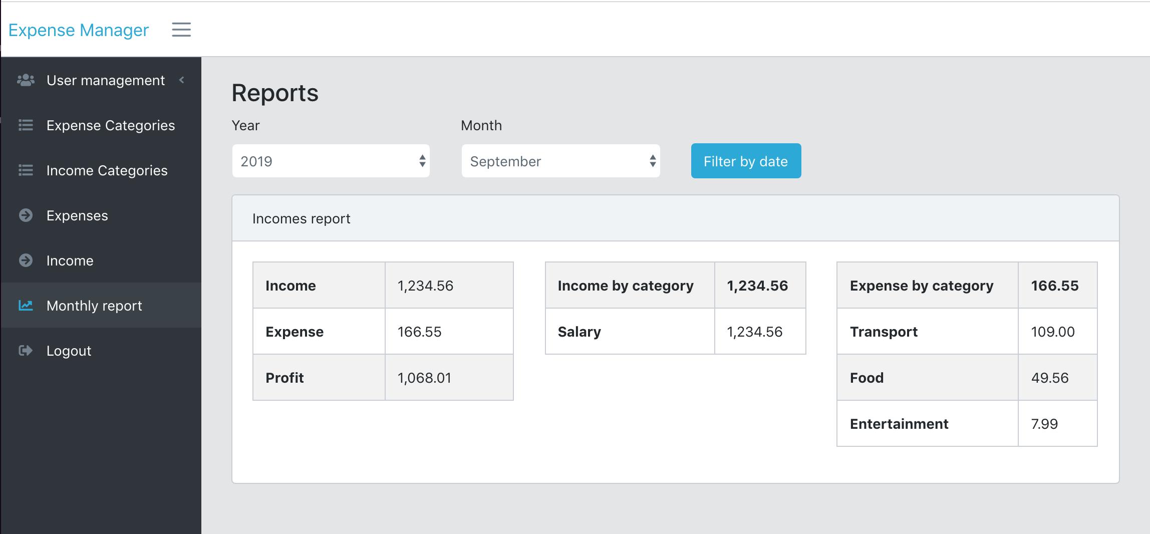 Expense manager screenshot