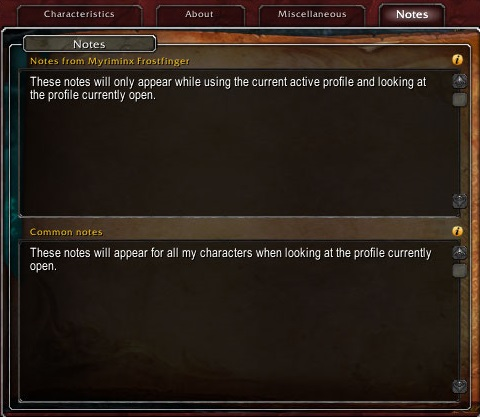 The new personal notes tab