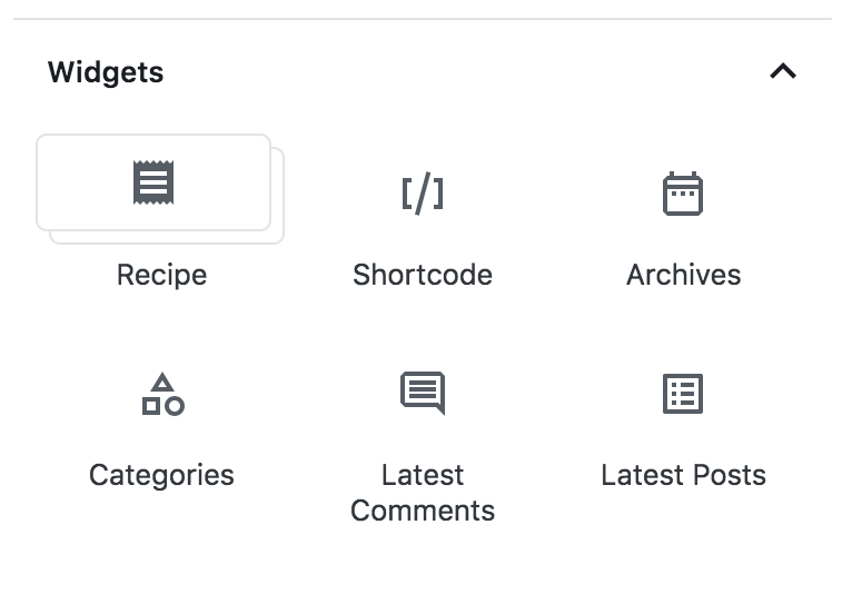 Screenshot block inserter: new Recipe icon in Widgets section