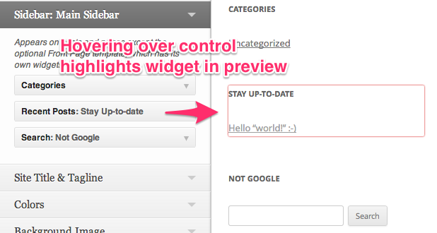 Hovering over control highlights widget in preview