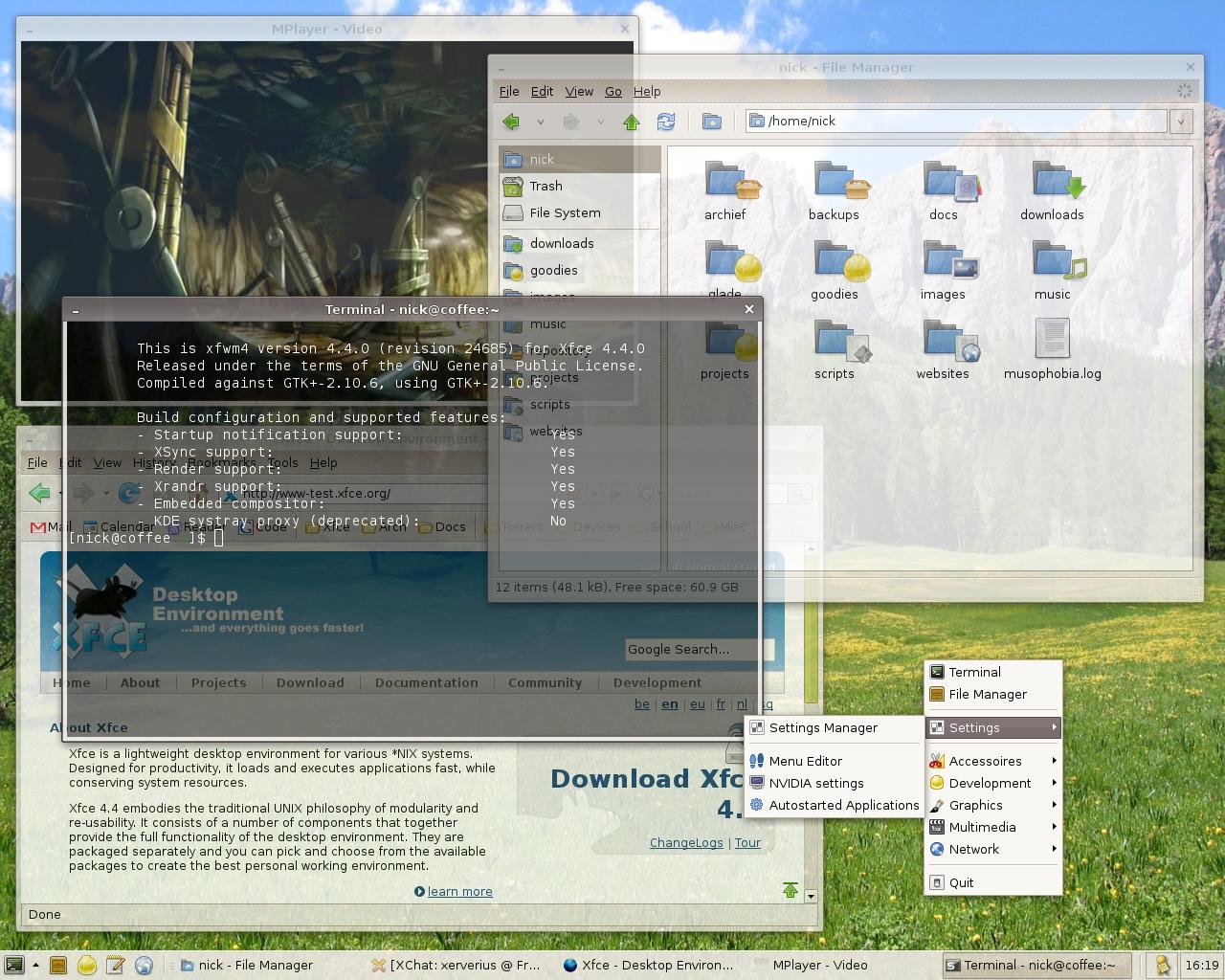 Tampilan desktop Xfce