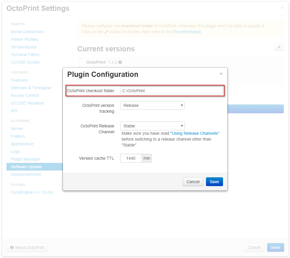 Software Update configuration in OctoPrint's settings