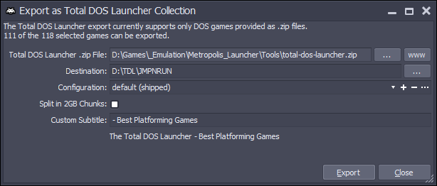 Export as Total DOS Launcher Collection