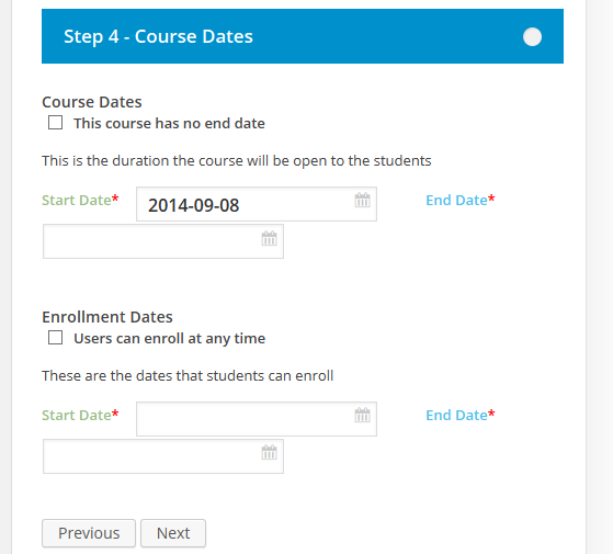 CoursePress - New Course - Course Dates