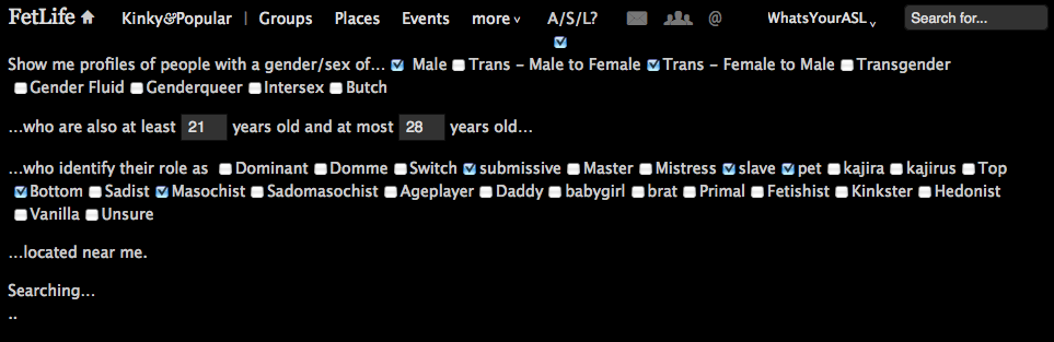 Screenshot of FetLife Age/Sex/Location Search running a search.