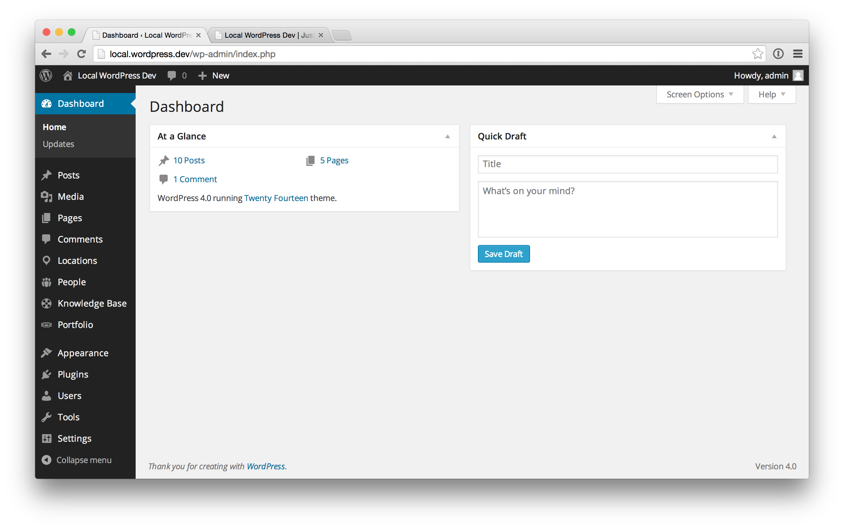 A typical WordPress site with multiple CPTs