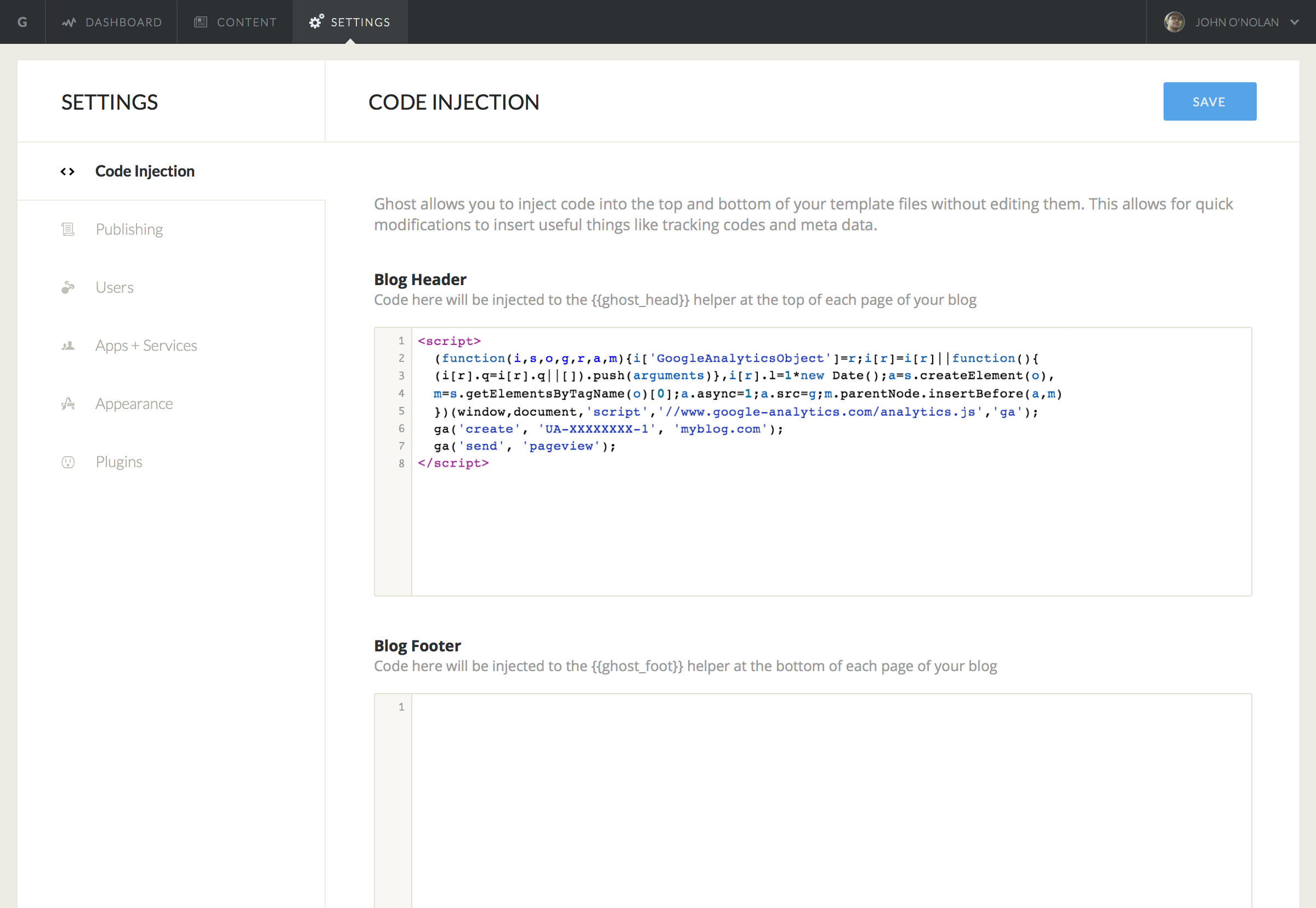 Feature: Code injection to theme header/footer via blog