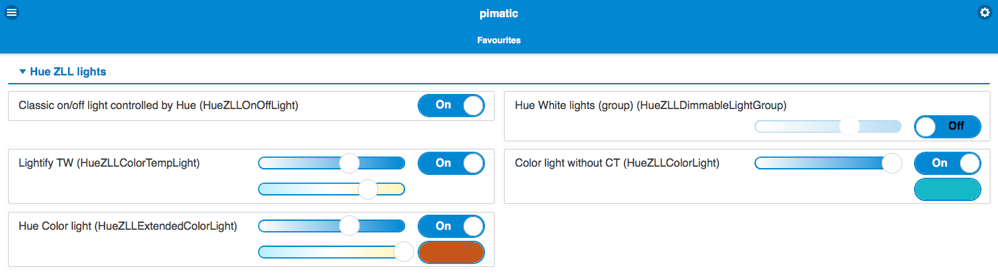 Screenshot of Hue-ZLL plugin devices