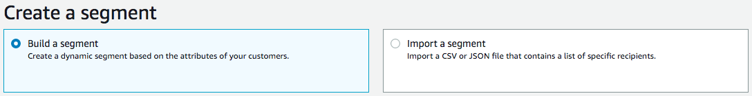 [The Create a segment page with the Build segment option selected.]