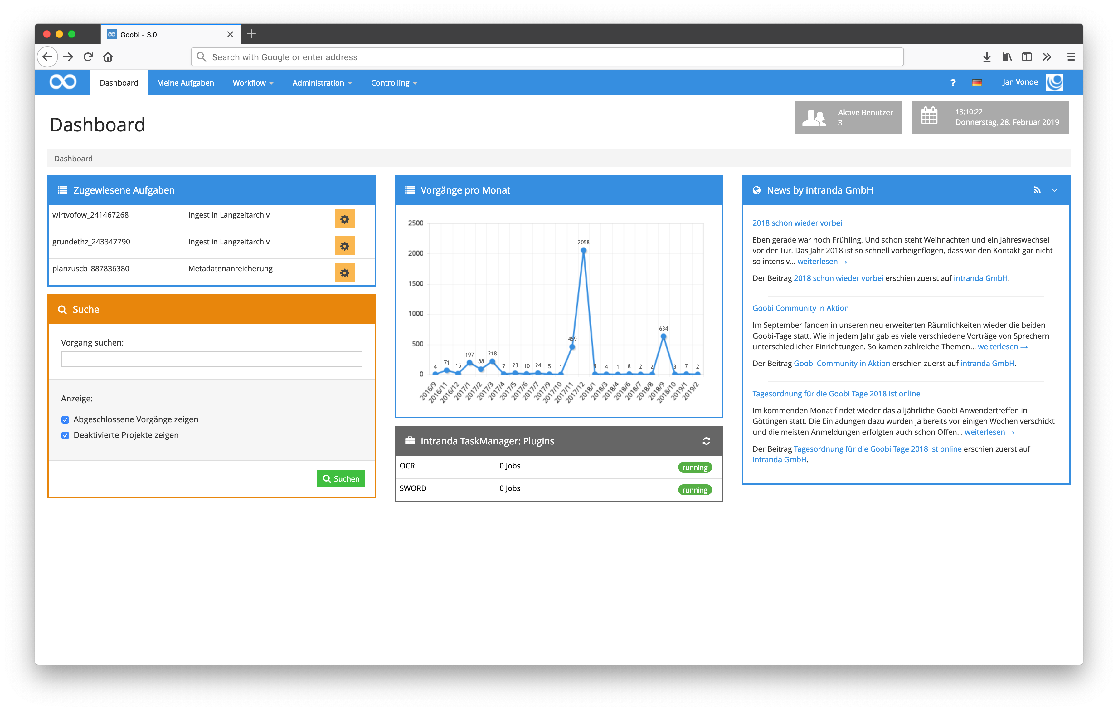 A dashboard plugin with advanced information about the Goobi instance