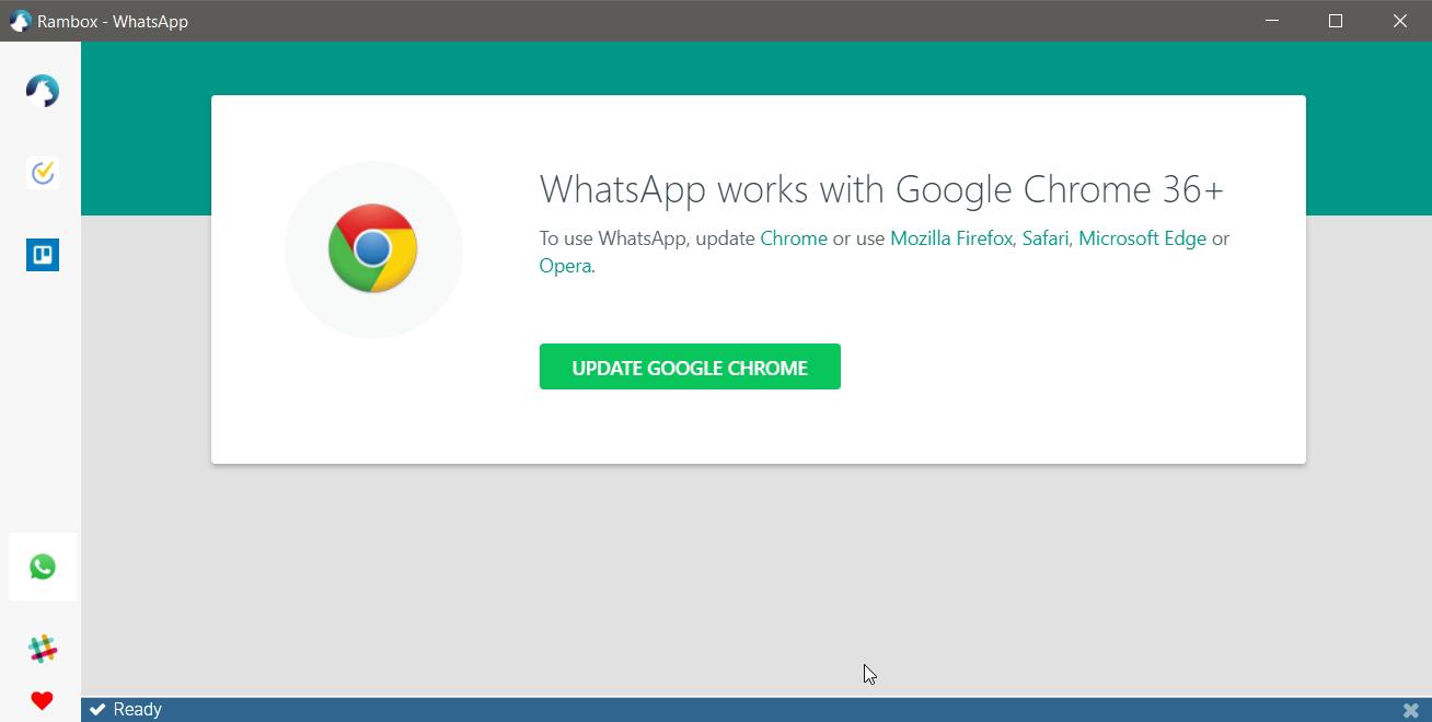 Whatsapp Error (Needs Chrome 36+) · Issue #1981 · ramboxapp