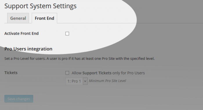 Support System Settings Frontend