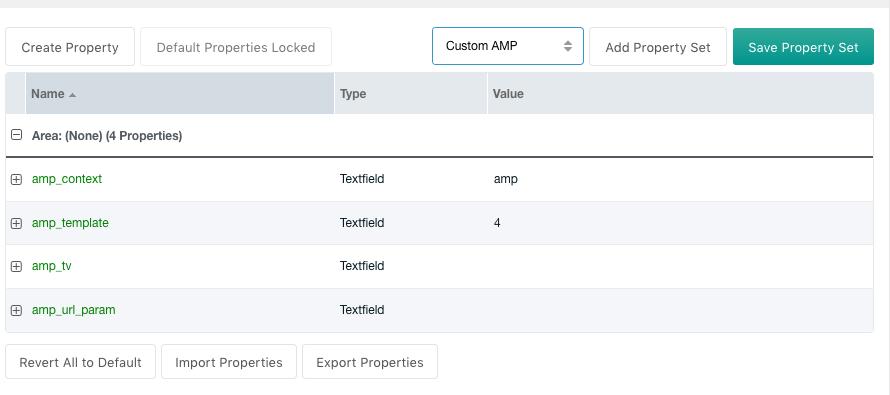 Property set for AMP