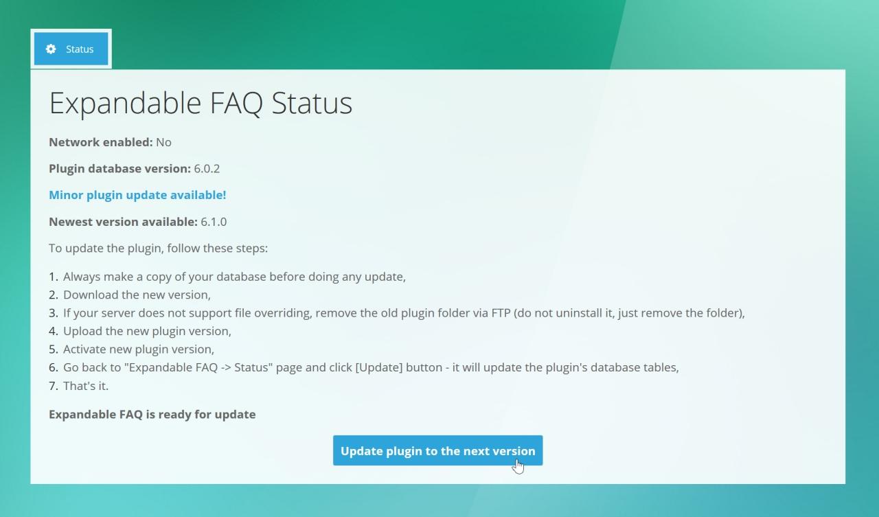 5. Expandable FAQ - Admin Plugin Updating