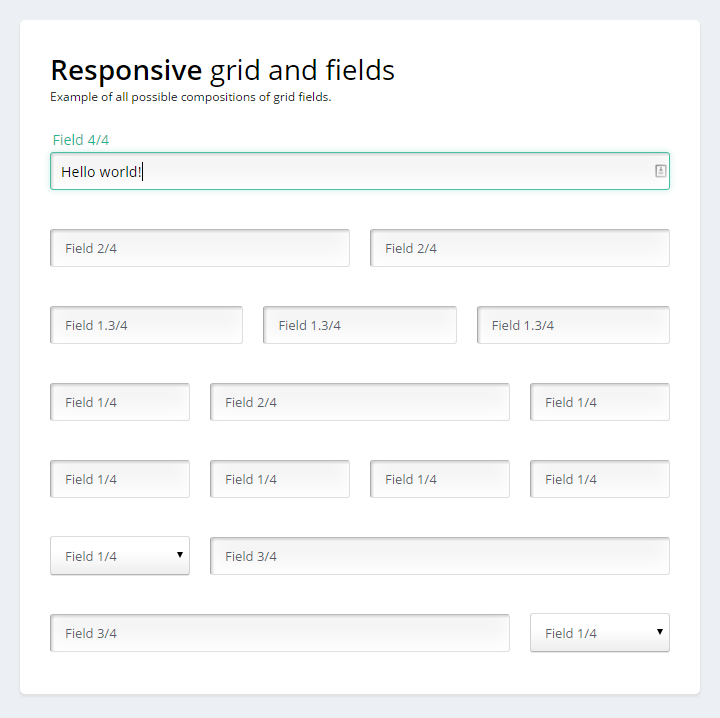 Responsive Grid Form with pure CSS