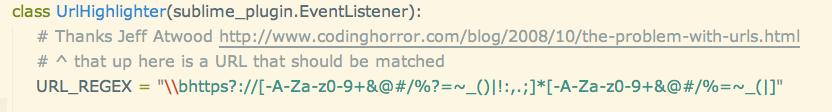Screenshot of a clickable URL