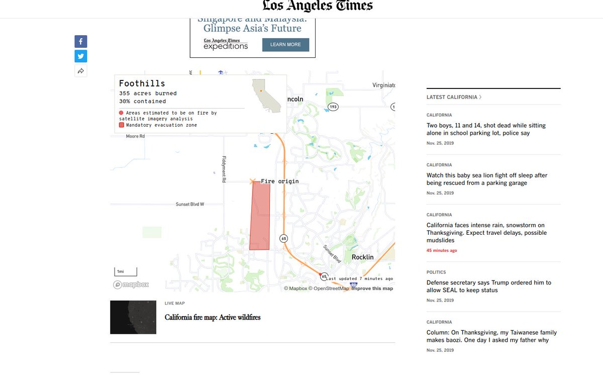 Embedded fire map image with evacuation zone