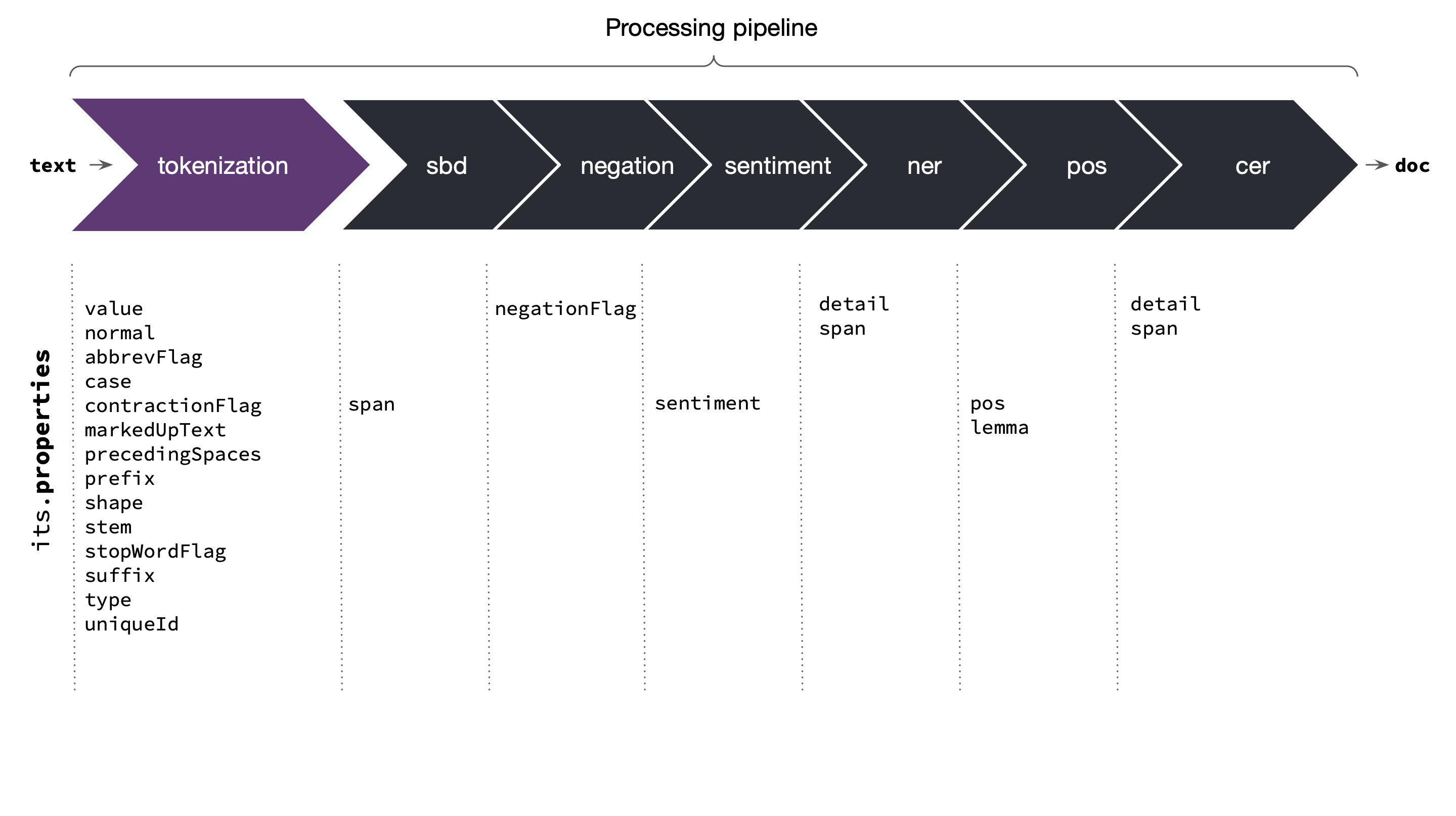 Processing pipeline: text, tokenization, SBD, negation, sentiment, NER, POS, CER