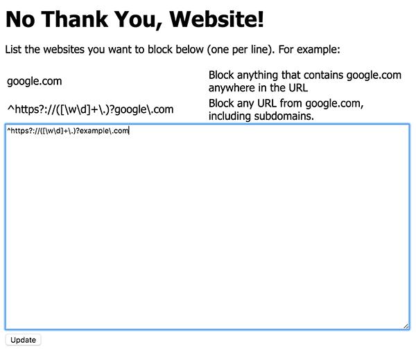 No Thank You, Website! screenshot