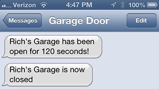 Screenshot of garage door SMS alert